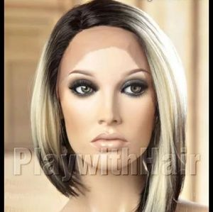 Asymmetrical black/blonde gradient lace front wig